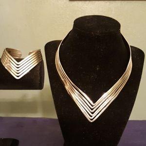 Cuff necklace and bracelet set